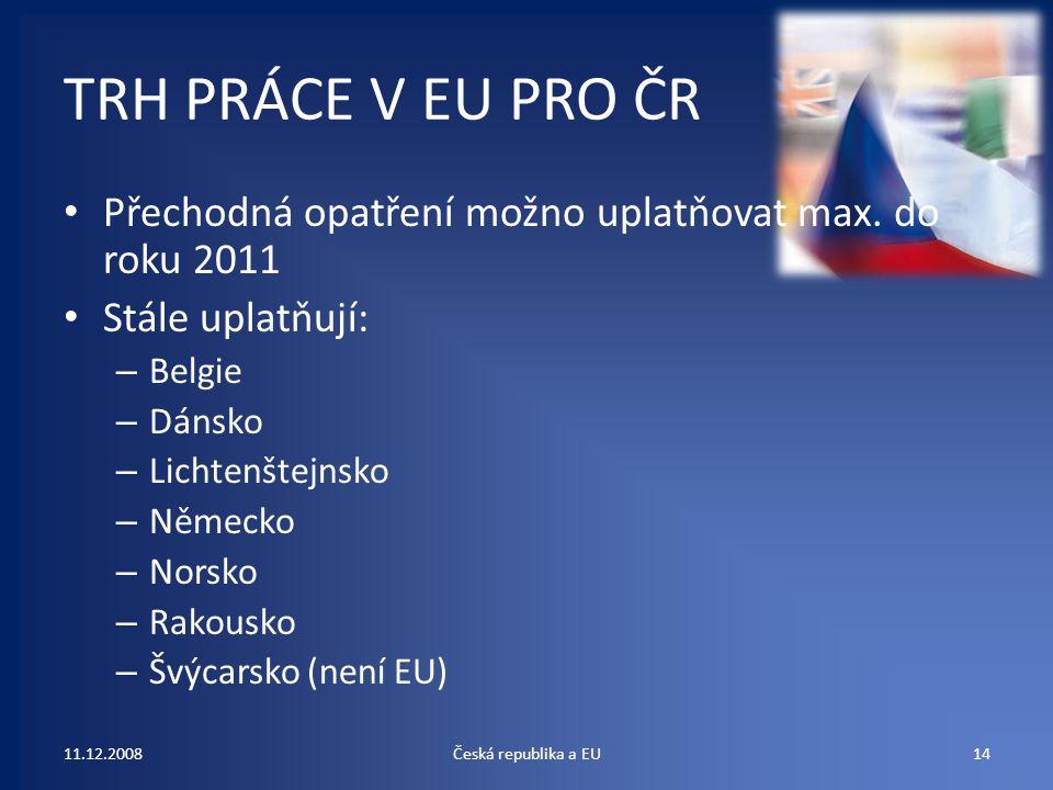 TRH PRÁCE V EU PRO ČR Přechodná opatření možno uplatňovat max. do roku 2011 Stále uplatňují: – Belgie – Dánsko – Lichtenštejnsko – Německo – Norsko –