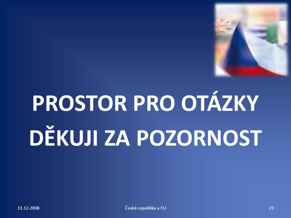 PROSTOR PRO OTÁZKY DĚKUJI ZA POZORNOST 11.12.200823Česká republika a EU