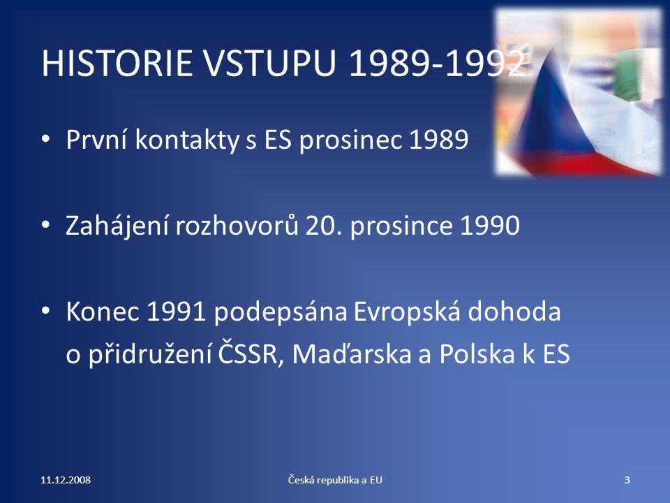 HISTORIE VSTUPU 1989-1992 První kontakty s ES prosinec 1989 Zahájení rozhovorů 20. prosince 1990 Konec 1991 podepsána Evropská dohoda o přidružení ČSS