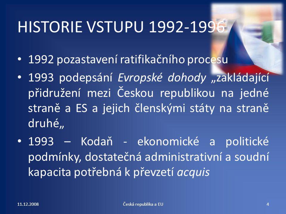 """HISTORIE VSTUPU 1992-1996 1992 pozastavení ratifikačního procesu 1993 podepsání Evropské dohody """"zakládající přidružení mezi Českou republikou na jedn"""