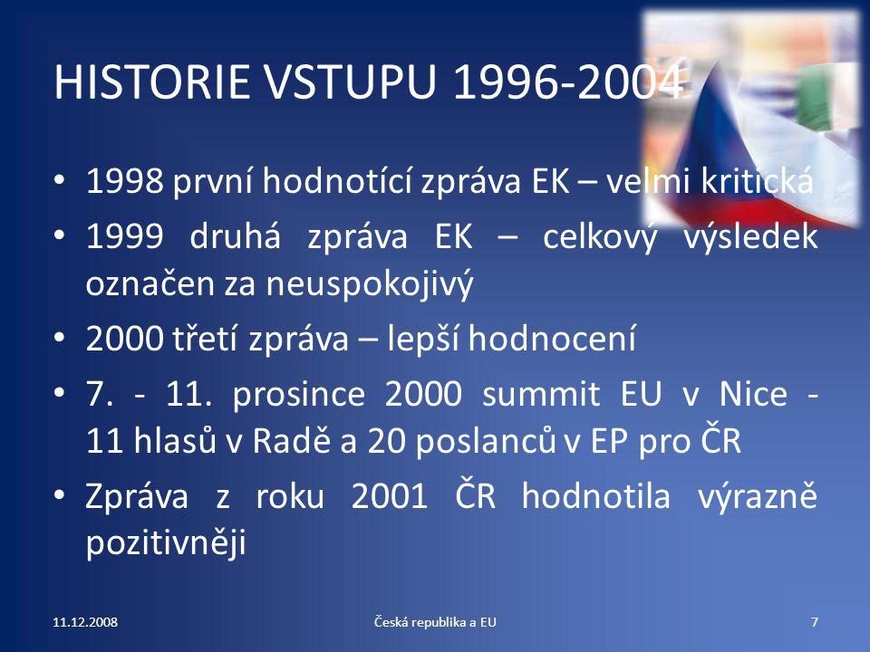 HISTORIE VSTUPU 1996-2004 1998 první hodnotící zpráva EK – velmi kritická 1999 druhá zpráva EK – celkový výsledek označen za neuspokojivý 2000 třetí z