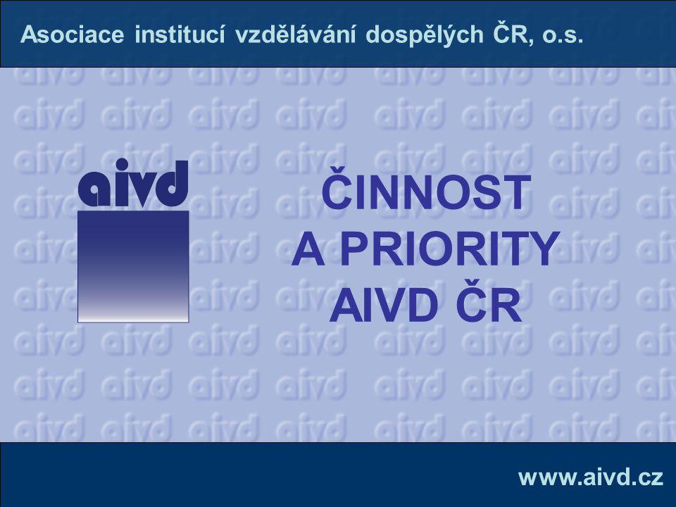 ČINNOST A PRIORITY AIVD ČR www.aivd.cz Asociace institucí vzdělávání dospělých ČR, o.s.