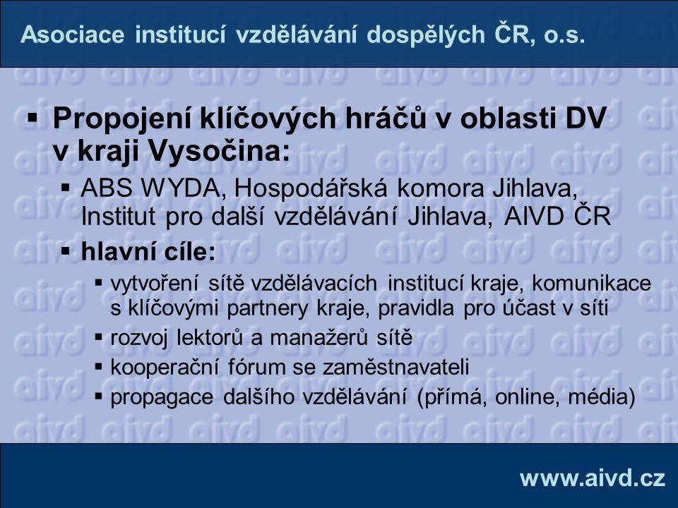  Propojení klíčových hráčů v oblasti DV v kraji Vysočina:  ABS WYDA, Hospodářská komora Jihlava, Institut pro další vzdělávání Jihlava, AIVD ČR  hl