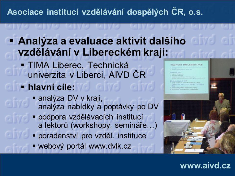  Analýza a evaluace aktivit dalšího vzdělávání v Libereckém kraji:  TIMA Liberec, Technická univerzita v Liberci, AIVD ČR  hlavní cíle:  analýza D