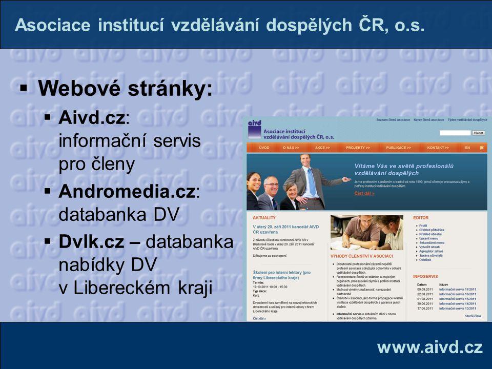  Webové stránky:  Aivd.cz: informační servis pro členy  Andromedia.cz: databanka DV  Dvlk.cz – databanka nabídky DV v Libereckém kraji www.aivd.cz