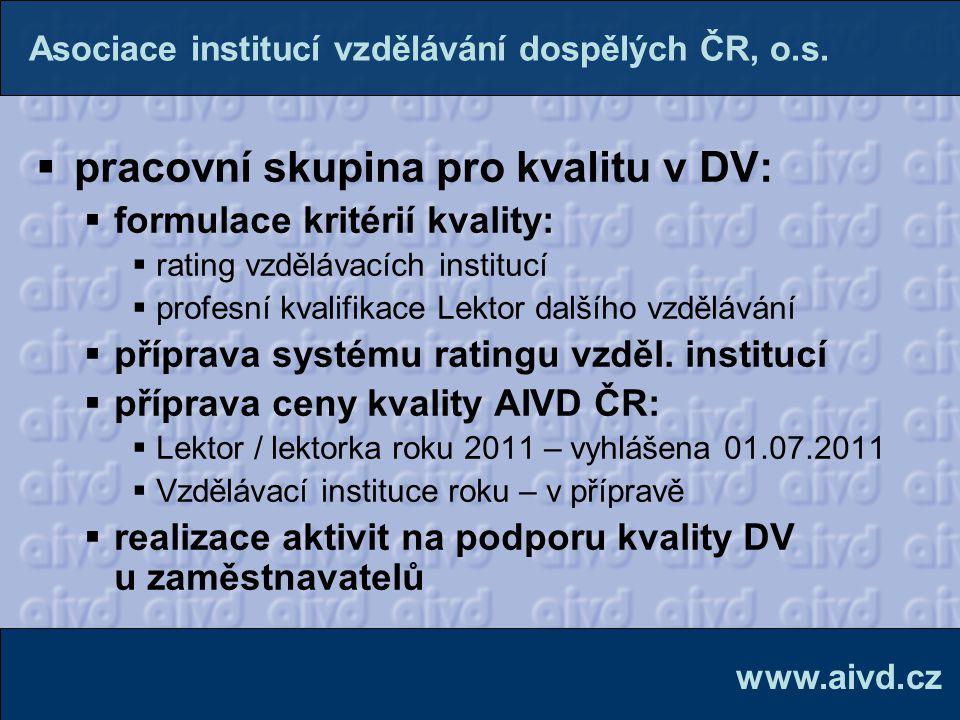  pracovní skupina pro kvalitu v DV:  formulace kritérií kvality:  rating vzdělávacích institucí  profesní kvalifikace Lektor dalšího vzdělávání 