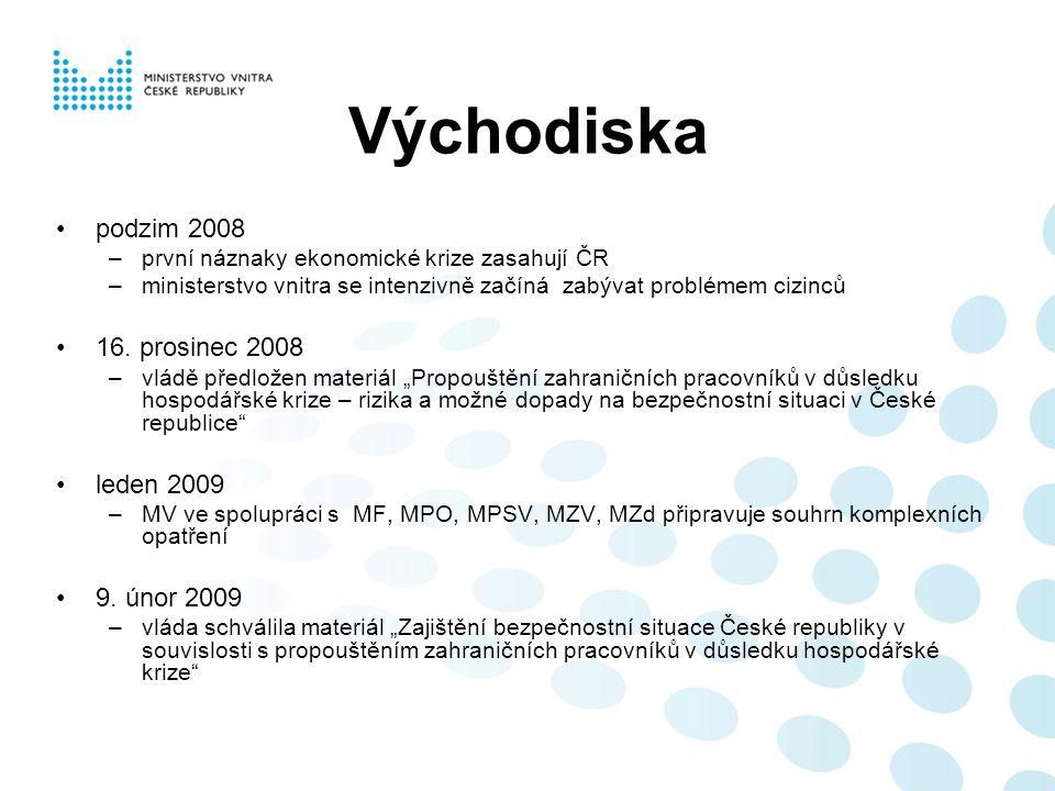 Východiska podzim 2008 –první náznaky ekonomické krize zasahují ČR –ministerstvo vnitra se intenzivně začíná zabývat problémem cizinců 16. prosinec 20