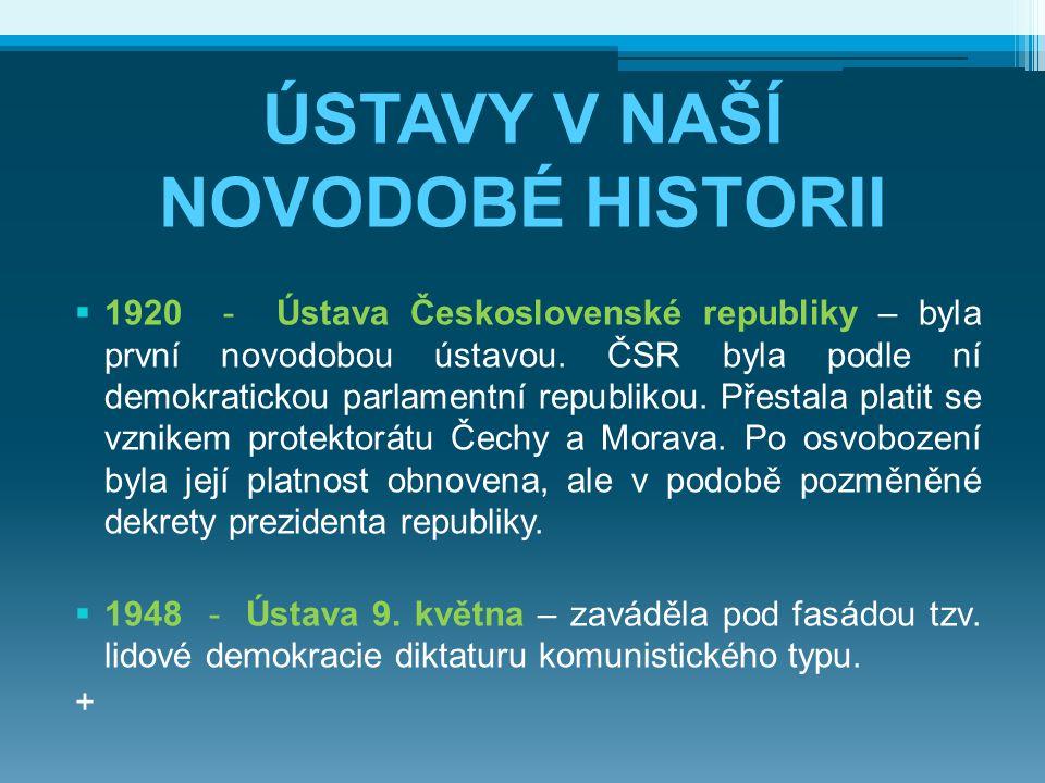 ÚSTAVY V NAŠÍ NOVODOBÉ HISTORII  1920 - Ústava Československé republiky – byla první novodobou ústavou. ČSR byla podle ní demokratickou parlamentní r