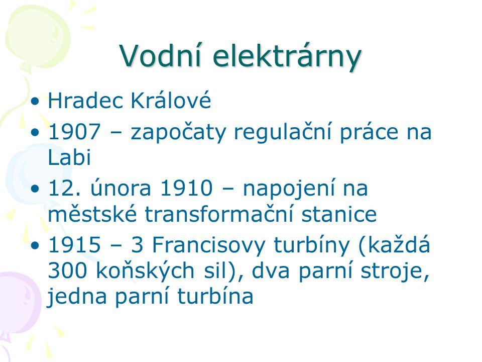 Vodní elektrárny Hradec Králové 1907 – započaty regulační práce na Labi 12.