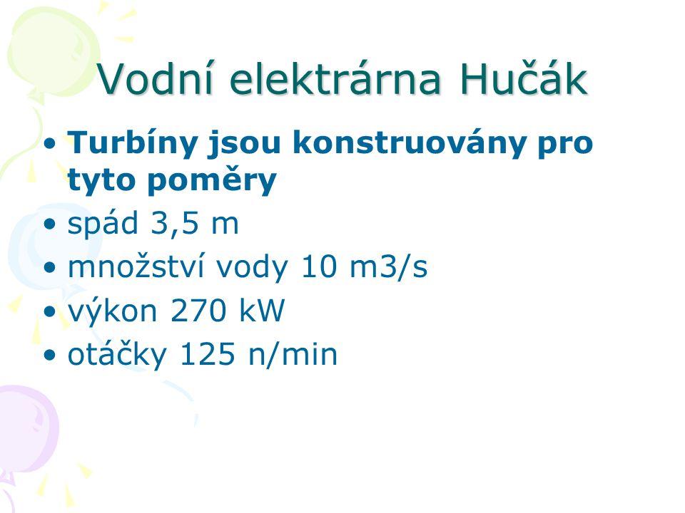 Turbíny jsou konstruovány pro tyto poměry spád 3,5 m množství vody 10 m3/s výkon 270 kW otáčky 125 n/min