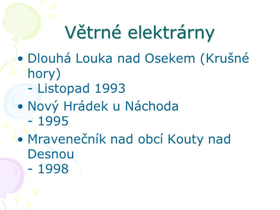 Větrné elektrárny Dlouhá Louka nad Osekem (Krušné hory) - Listopad 1993 Nový Hrádek u Náchoda - 1995 Mravenečník nad obcí Kouty nad Desnou - 1998
