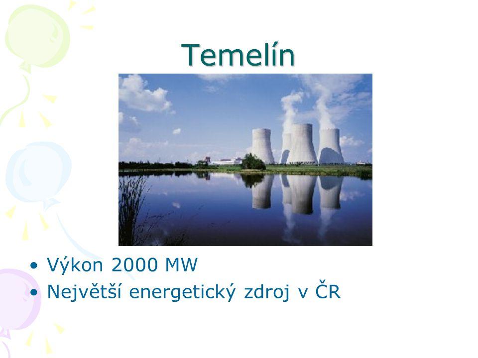 Temelín Výkon 2000 MW Největší energetický zdroj v ČR