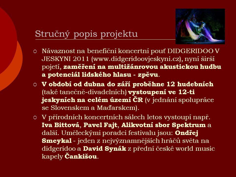 Stručný popis projektu  Návaznost na benefiční koncertní pouť DIDGERIDOO V JESKYNI 2011 (www.didgeridoovjeskyni.cz), nyní širší pojetí, zaměření na multižánrovou akustickou hudbu a potenciál lidského hlasu - zpěvu.