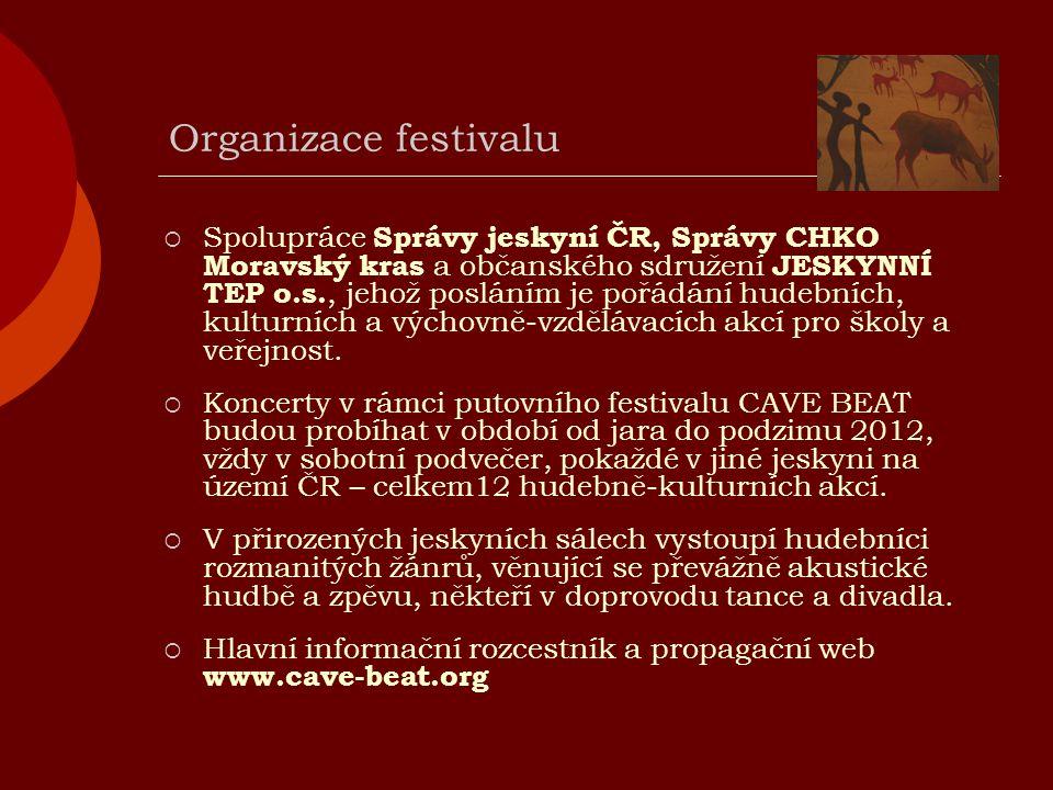 Organizace festivalu  Spolupráce Správy jeskyní ČR, Správy CHKO Moravský kras a občanského sdružení JESKYNNÍ TEP o.s., jehož posláním je pořádání hudebních, kulturních a výchovně-vzdělávacích akcí pro školy a veřejnost.
