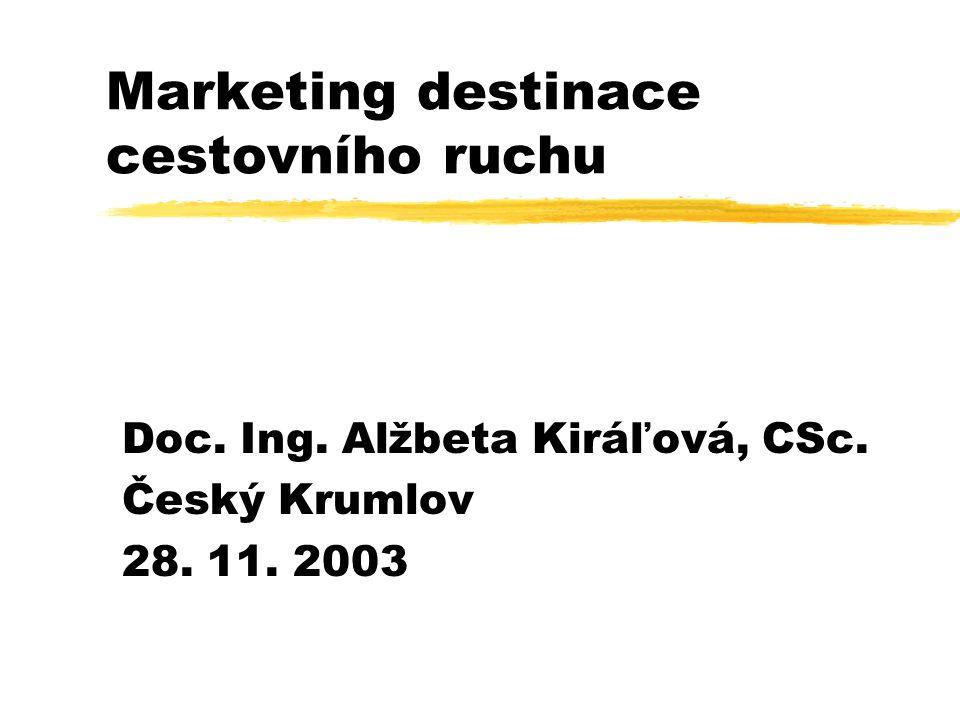 Marketing destinace cestovního ruchu Doc. Ing. Alžbeta Kiráľová, CSc. Český Krumlov 28. 11. 2003