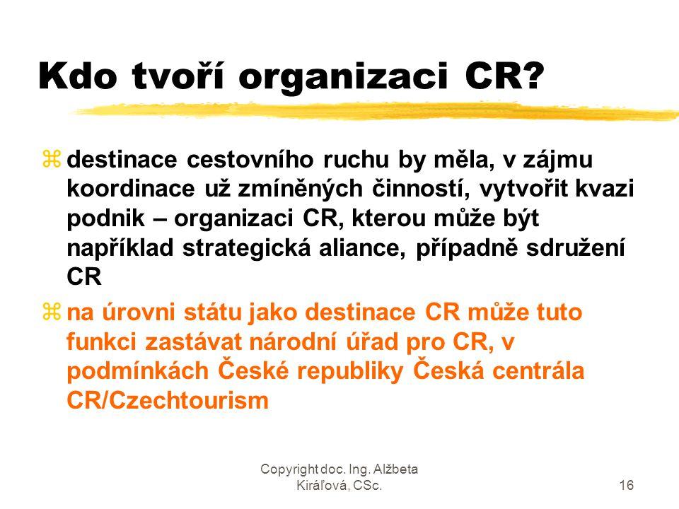 Copyright doc. Ing. Alžbeta Kiráľová, CSc.16 Kdo tvoří organizaci CR? zdestinace cestovního ruchu by měla, v zájmu koordinace už zmíněných činností, v