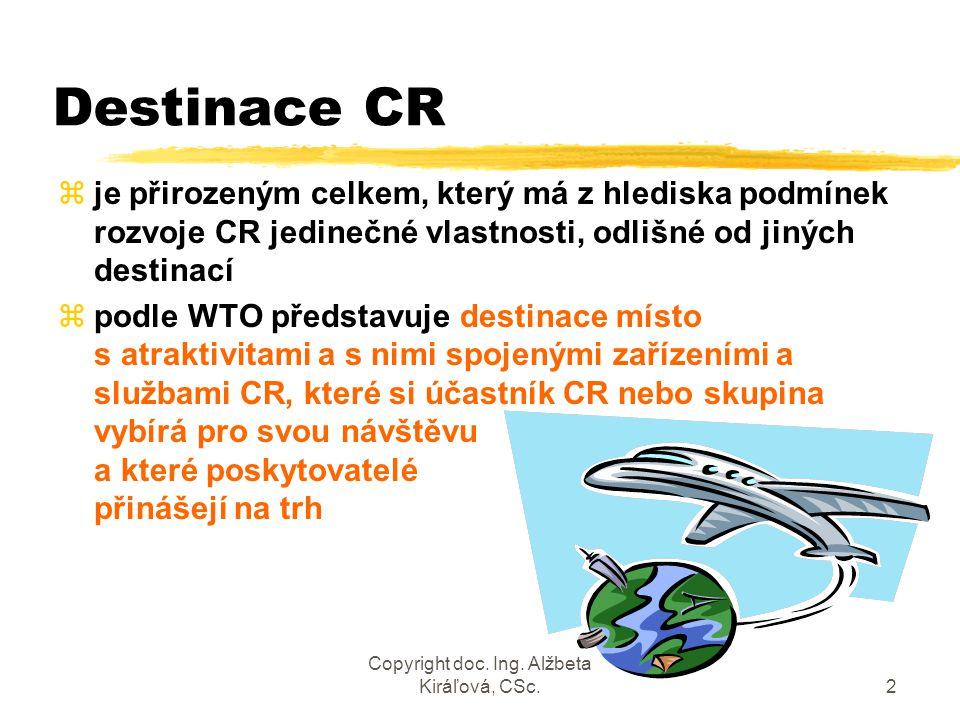 Copyright doc. Ing. Alžbeta Kiráľová, CSc.2 Destinace CR zje přirozeným celkem, který má z hlediska podmínek rozvoje CR jedinečné vlastnosti, odlišné