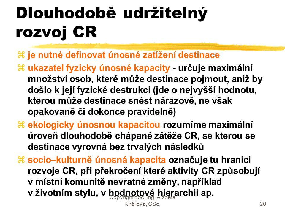 Copyright doc. Ing. Alžbeta Kiráľová, CSc.20 Dlouhodobě udržitelný rozvoj CR zje nutné definovat únosné zatížení destinace zukazatel fyzicky únosné ka