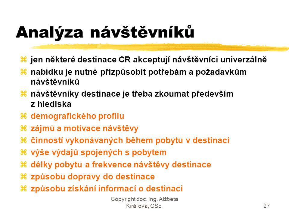 Copyright doc. Ing. Alžbeta Kiráľová, CSc.27 Analýza návštěvníků zjen některé destinace CR akceptují návštěvníci univerzálně znabídku je nutné přizpůs