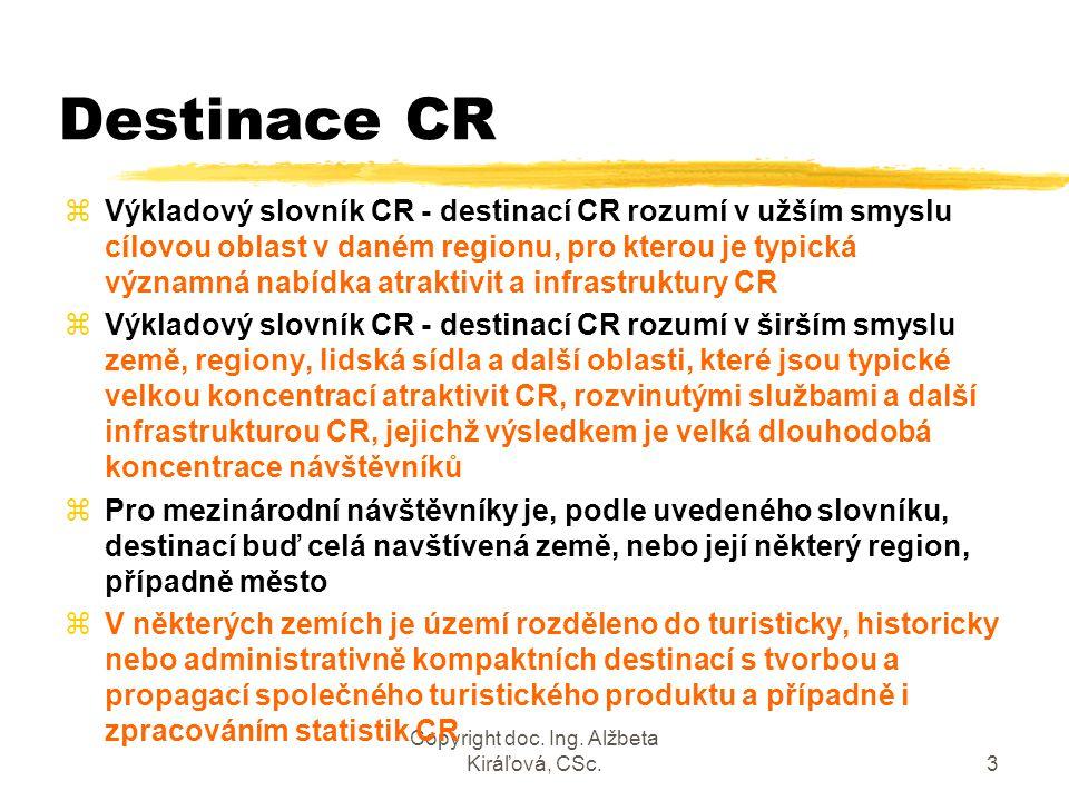 Copyright doc. Ing. Alžbeta Kiráľová, CSc.3 Destinace CR zVýkladový slovník CR - destinací CR rozumí v užším smyslu cílovou oblast v daném regionu, pr