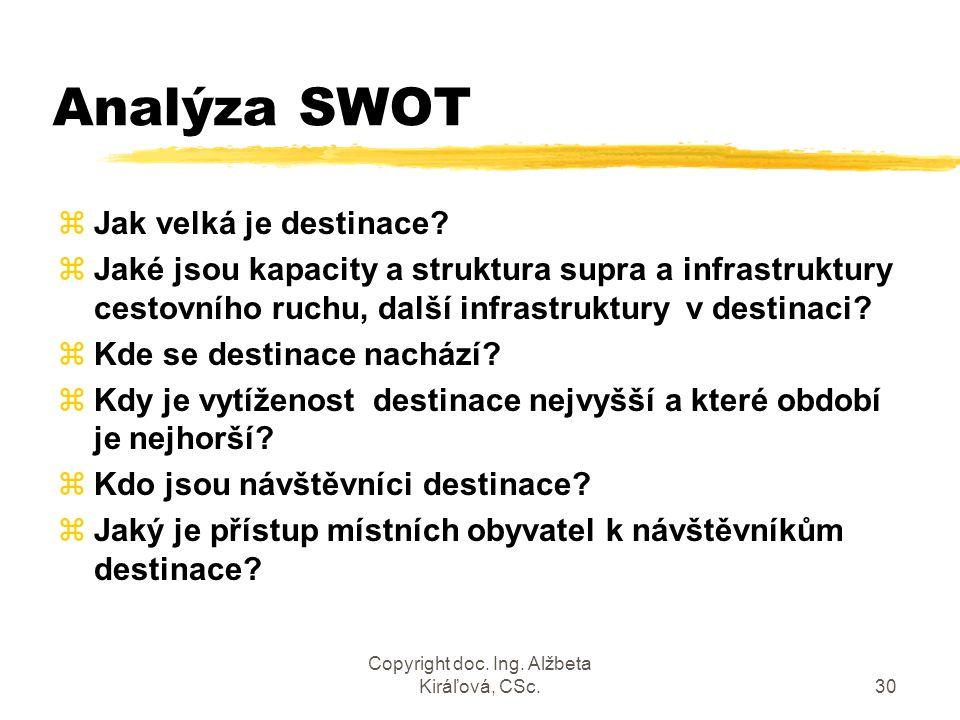 Copyright doc. Ing. Alžbeta Kiráľová, CSc.30 Analýza SWOT zJak velká je destinace? zJaké jsou kapacity a struktura supra a infrastruktury cestovního r