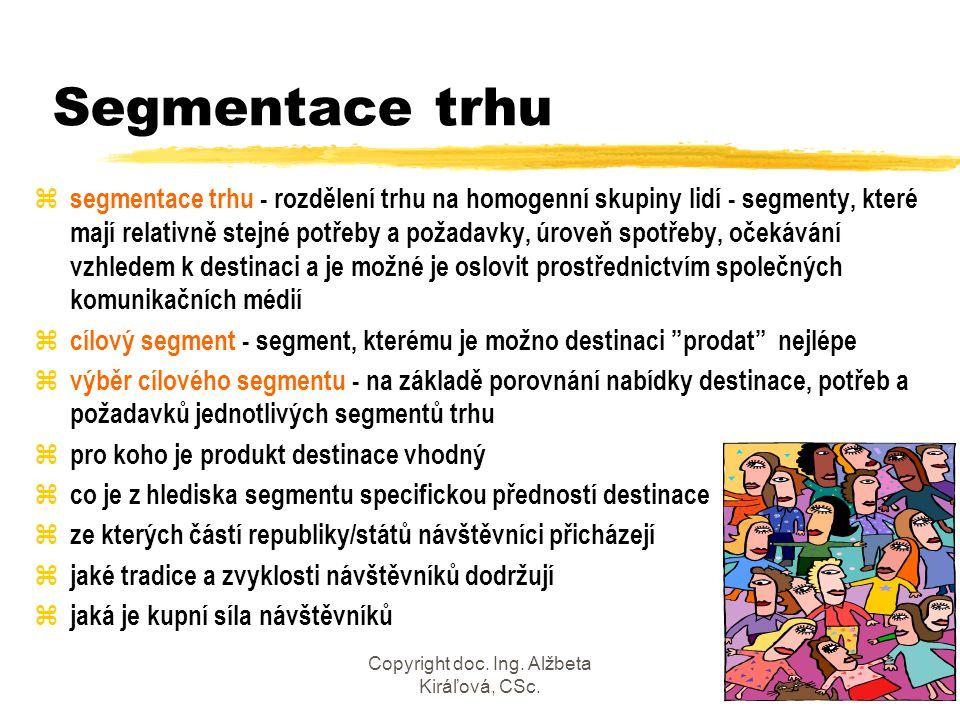 Copyright doc. Ing. Alžbeta Kiráľová, CSc.32 Segmentace trhu z segmentace trhu - rozdělení trhu na homogenní skupiny lidí - segmenty, které mají relat
