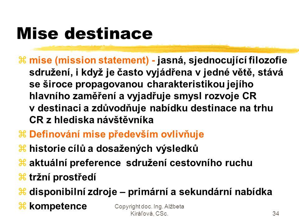 Copyright doc. Ing. Alžbeta Kiráľová, CSc.34 Mise destinace zmise (mission statement) - jasná, sjednocující filozofie sdružení, i když je často vyjádř