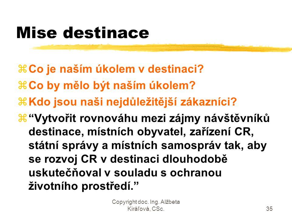 Copyright doc. Ing. Alžbeta Kiráľová, CSc.35 Mise destinace zCo je naším úkolem v destinaci? zCo by mělo být naším úkolem? zKdo jsou naši nejdůležitěj