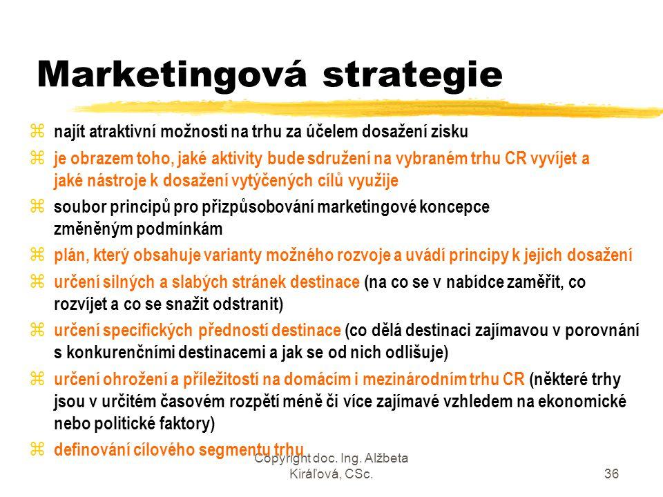 Copyright doc. Ing. Alžbeta Kiráľová, CSc.36 Marketingová strategie z najít atraktivní možnosti na trhu za účelem dosažení zisku z je obrazem toho, ja