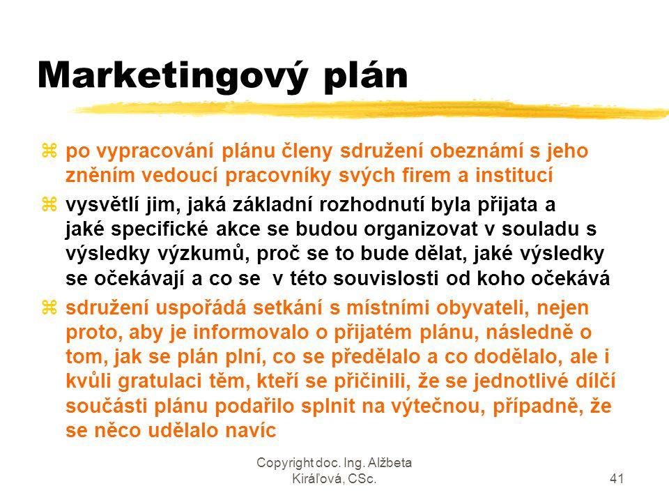 Copyright doc. Ing. Alžbeta Kiráľová, CSc.41 Marketingový plán zpo vypracování plánu členy sdružení obeznámí s jeho zněním vedoucí pracovníky svých fi
