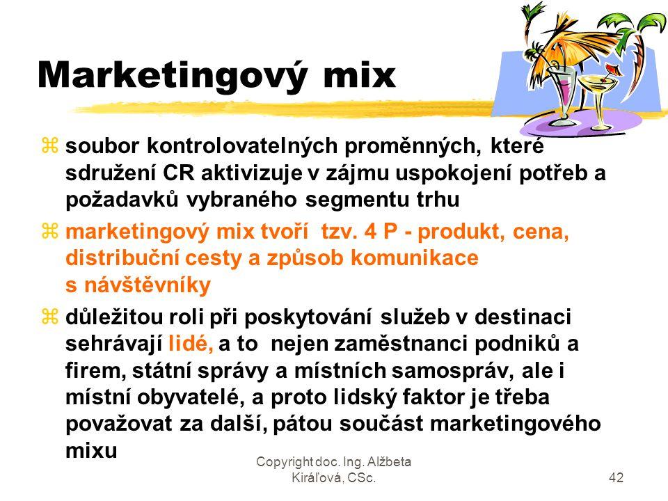 Copyright doc. Ing. Alžbeta Kiráľová, CSc.42 Marketingový mix zsoubor kontrolovatelných proměnných, které sdružení CR aktivizuje v zájmu uspokojení po