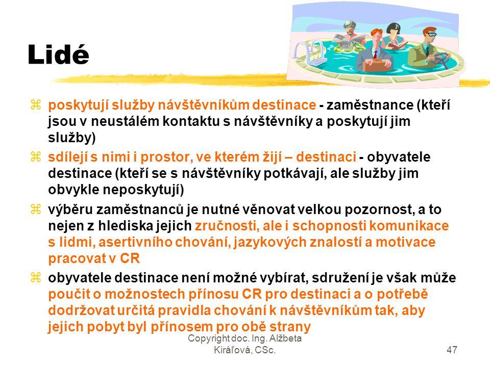 Copyright doc. Ing. Alžbeta Kiráľová, CSc.47 Lidé zposkytují služby návštěvníkům destinace - zaměstnance (kteří jsou v neustálém kontaktu s návštěvník