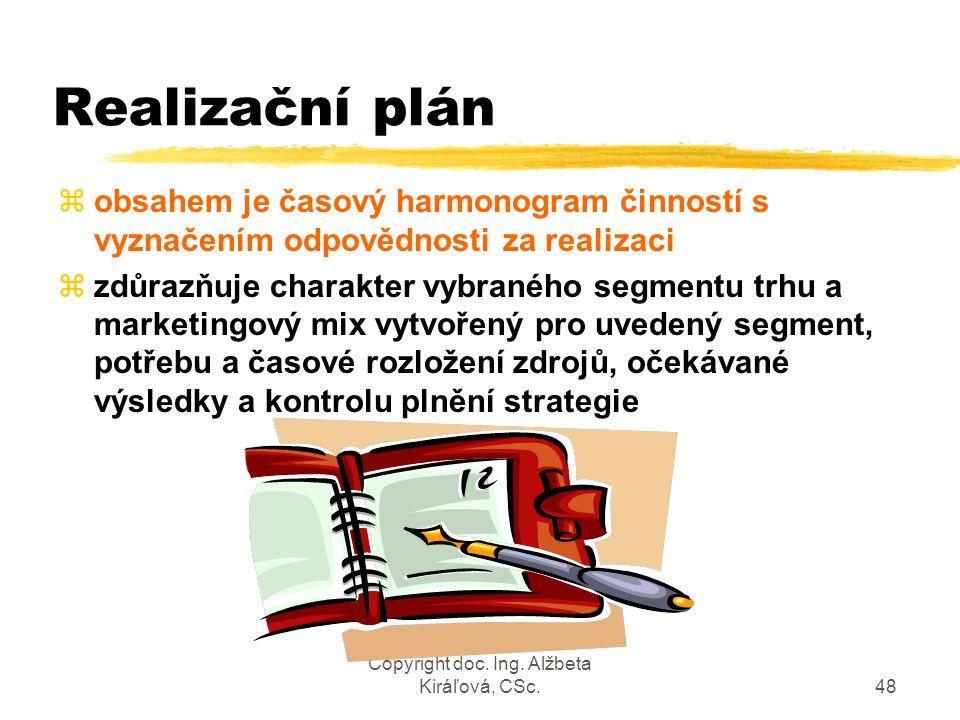 Copyright doc. Ing. Alžbeta Kiráľová, CSc.48 Realizační plán zobsahem je časový harmonogram činností s vyznačením odpovědnosti za realizaci zzdůrazňuj