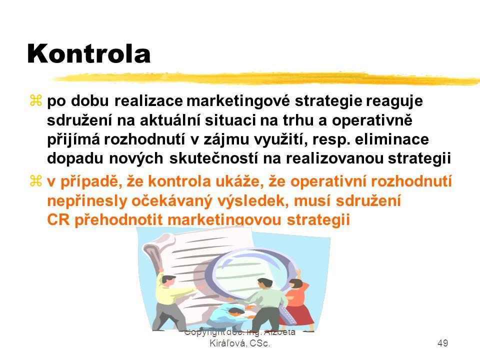 Copyright doc. Ing. Alžbeta Kiráľová, CSc.49 Kontrola zpo dobu realizace marketingové strategie reaguje sdružení na aktuální situaci na trhu a operati