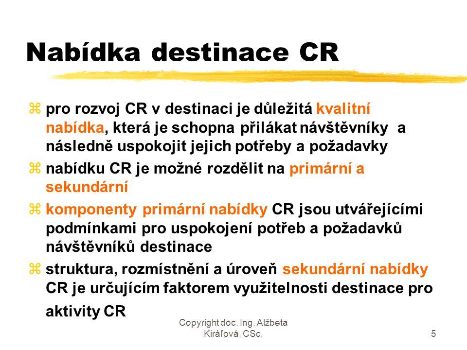 Copyright doc. Ing. Alžbeta Kiráľová, CSc.5 Nabídka destinace CR zpro rozvoj CR v destinaci je důležitá kvalitní nabídka, která je schopna přilákat ná