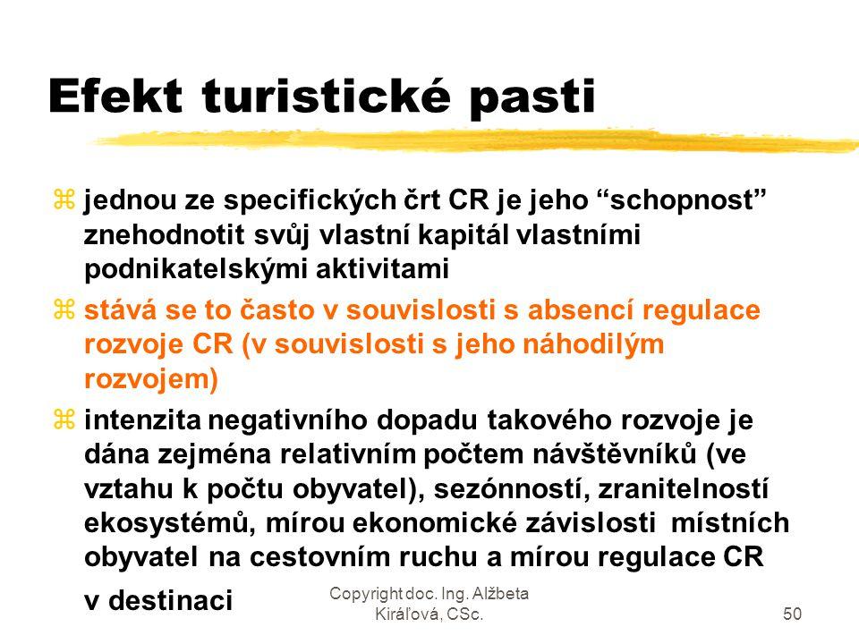 """Copyright doc. Ing. Alžbeta Kiráľová, CSc.50 Efekt turistické pasti zjednou ze specifických črt CR je jeho """"schopnost"""" znehodnotit svůj vlastní kapitá"""