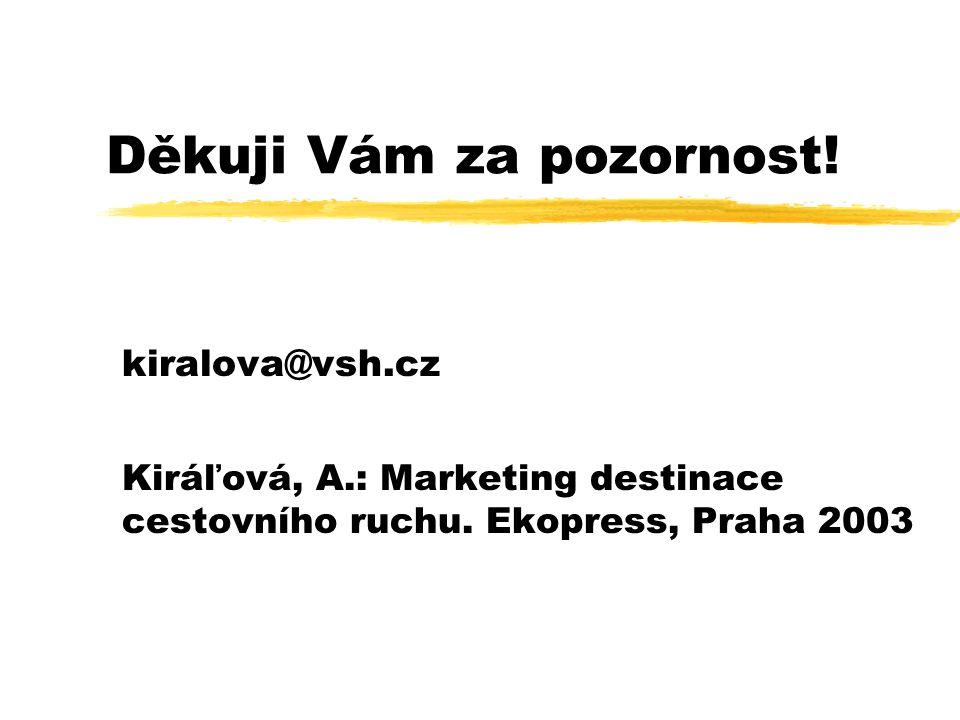 Děkuji Vám za pozornost! kiralova@vsh.cz Kiráľová, A.: Marketing destinace cestovního ruchu. Ekopress, Praha 2003