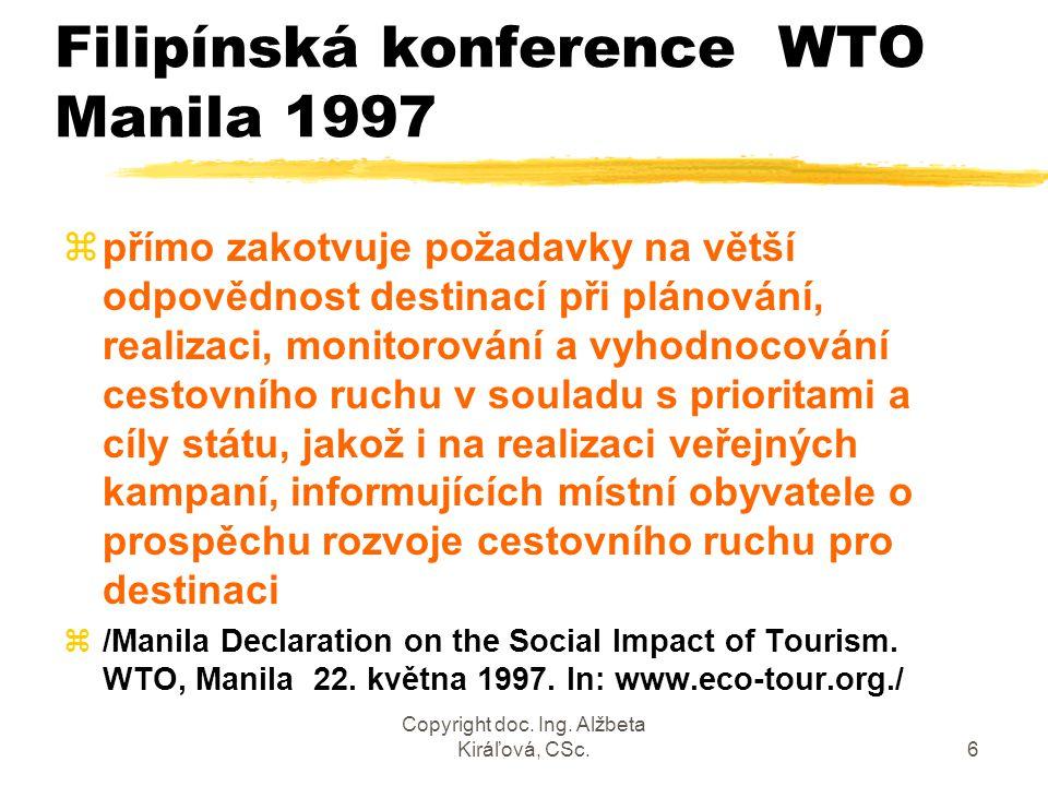 Copyright doc. Ing. Alžbeta Kiráľová, CSc.6 Filipínská konference WTO Manila 1997 zpřímo zakotvuje požadavky na větší odpovědnost destinací při plánov