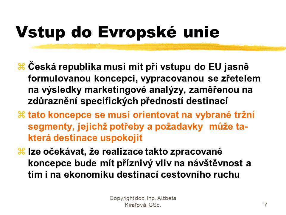 Copyright doc. Ing. Alžbeta Kiráľová, CSc.8 Marketingová koncepce destinace CR