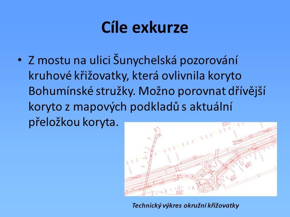 Cíle exkurze Z mostu na ulici Šunychelská pozorování kruhové křižovatky, která ovlivnila koryto Bohumínské stružky. Možno porovnat dřívější koryto z m