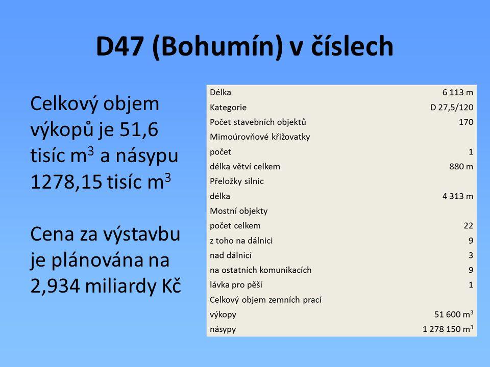 D47 (Bohumín) v číslech Celkový objem výkopů je 51,6 tisíc m 3 a násypu 1278,15 tisíc m 3 Cena za výstavbu je plánována na 2,934 miliardy Kč