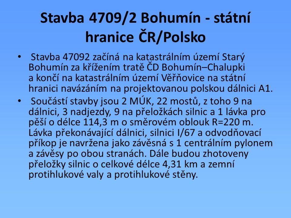 Stavba 4709/2 Bohumín - státní hranice ČR/Polsko Stavba 47092 začíná na katastrálním území Starý Bohumín za křížením tratě ČD Bohumín–Chalupki a končí
