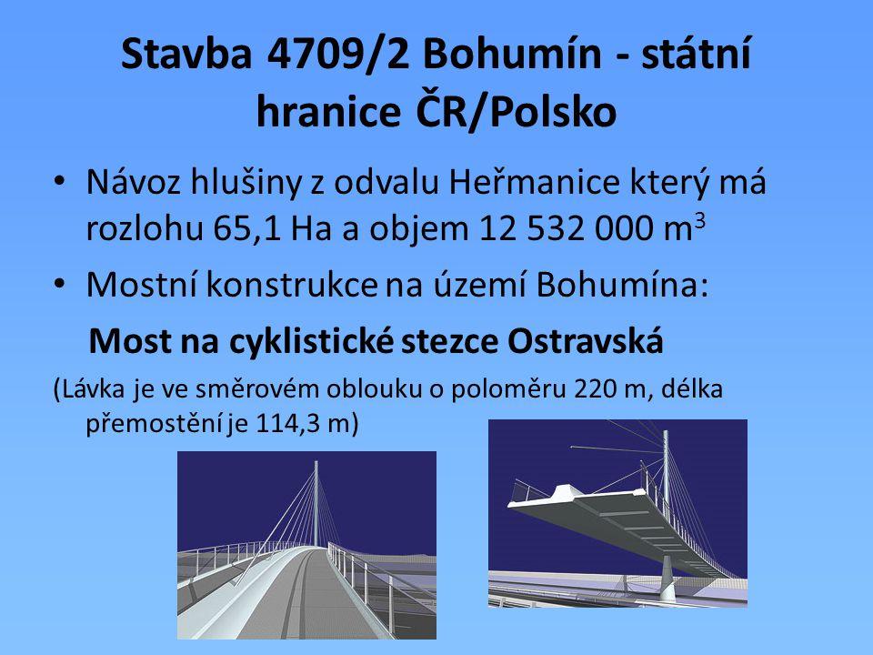 Stavba 4709/2 Bohumín - státní hranice ČR/Polsko Návoz hlušiny z odvalu Heřmanice který má rozlohu 65,1 Ha a objem 12 532 000 m 3 Mostní konstrukce na