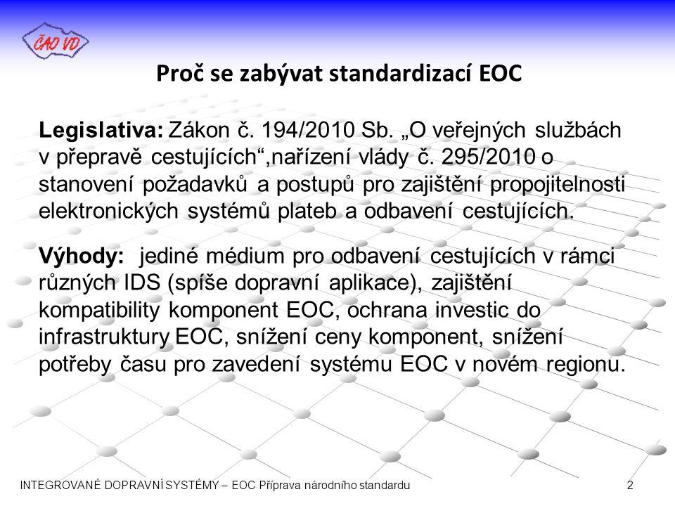"""Proč se zabývat standardizací EOC Legislativa: Zákon č. 194/2010 Sb. """"O veřejných službách v přepravě cestujících"""",nařízení vlády č. 295/2010 o stanov"""
