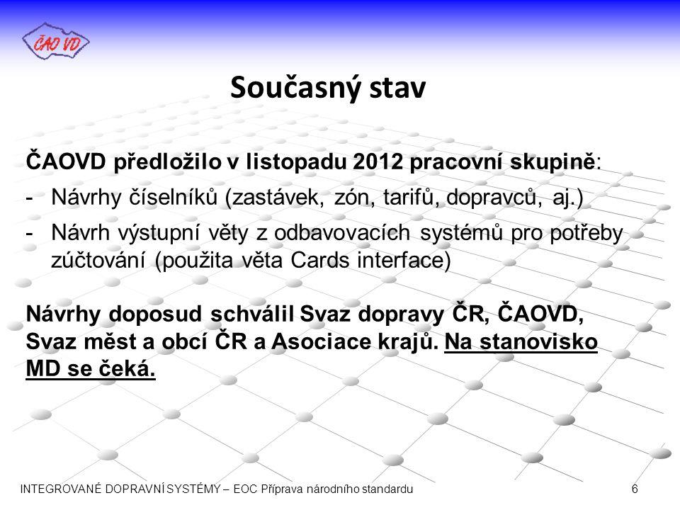 Současný stav ČAOVD předložilo v listopadu 2012 pracovní skupině: -Návrhy číselníků (zastávek, zón, tarifů, dopravců, aj.) -Návrh výstupní věty z odba