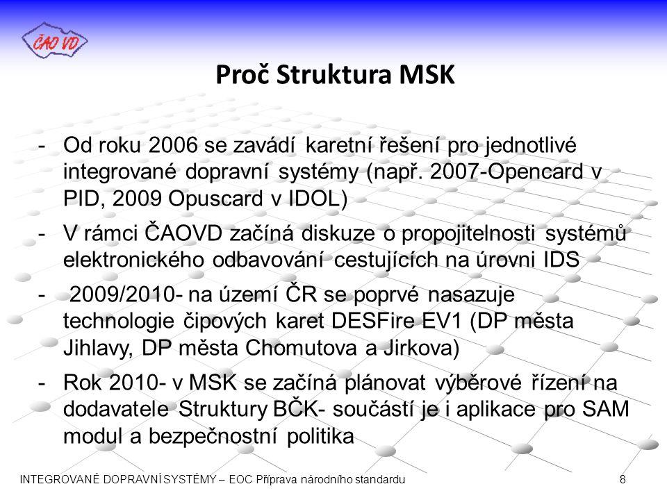 Proč Struktura MSK -Rok 2011– vznik Struktury MSK + implementace MSK tak, aby byla zajištěna bezchybná práce odbavovacích zařízení s kartou -2011, začátek 2012- na platformě ČAOVD probíhá diskuze o používání stejné struktury BČK napříč jednotlivými IDS -Březen 2012- ČAOVD jako vybírá jako návrh jednotné struktury Strukturu MSK -Březen 2012 mezi ČAOVD a autorem Struktury MSK (XT Card) je uzavřena smlouva, na základě které mohou členové ČAOVD Strukturu MSK bezplatně využít INTEGROVANÉ DOPRAVNÍ SYSTÉMY – EOC Příprava národního standardu 9