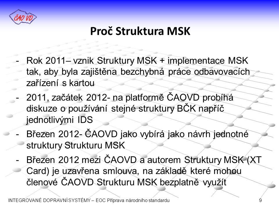 Proč Struktura MSK -Rok 2011– vznik Struktury MSK + implementace MSK tak, aby byla zajištěna bezchybná práce odbavovacích zařízení s kartou -2011, zač