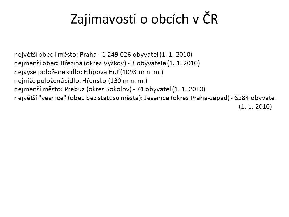 Zajímavosti o obcích v ČR největší obec i město: Praha - 1 249 026 obyvatel (1. 1. 2010) nejmenší obec: Březina (okres Vyškov) - 3 obyvatele (1. 1. 20