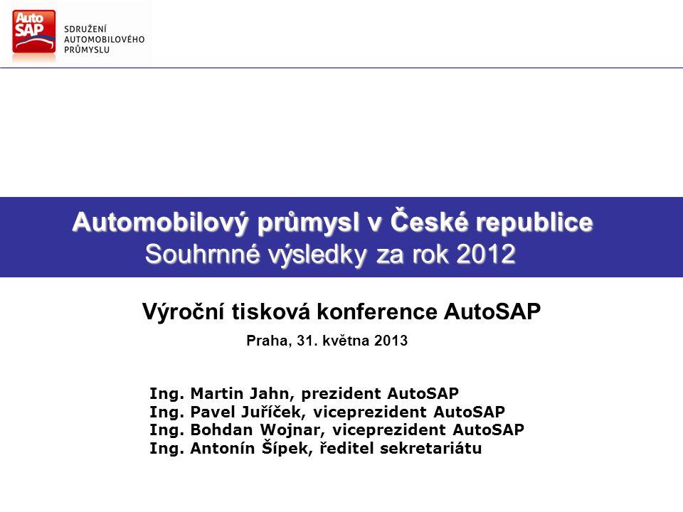 Směry hlavních činností AutoSAP Strategie AutoSAP pro další období Automobilový průmysl v České republice Souhrnné výsledky za rok 2012 Automobilový průmysl v České republice Souhrnné výsledky za rok 2012 Výroční tisková konference AutoSAP Praha, 31.