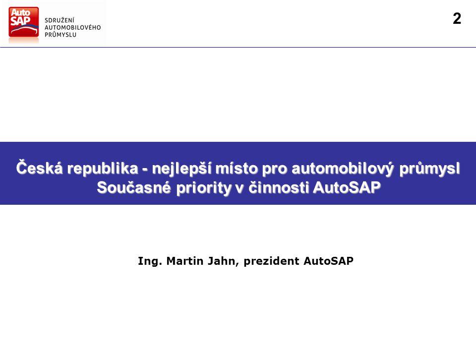 Směry hlavních činností AutoSAP Strategie AutoSAP pro další období Česká republika - nejlepší místo pro automobilový průmysl Současné priority v činnosti AutoSAP Ing.